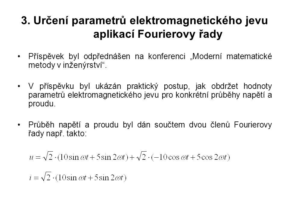 """3. Určení parametrů elektromagnetického jevu aplikací Fourierovy řady Příspěvek byl odpřednášen na konferenci """"Moderní matematické metody v inženýrstv"""