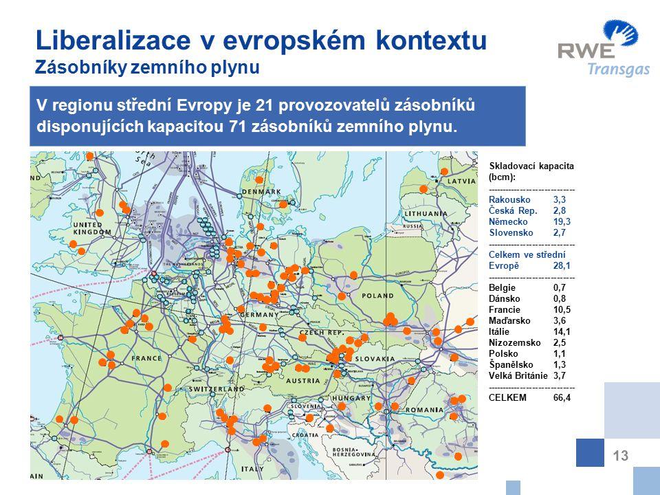 13 V regionu střední Evropy je 21 provozovatelů zásobníků disponujících kapacitou 71 zásobníků zemního plynu.