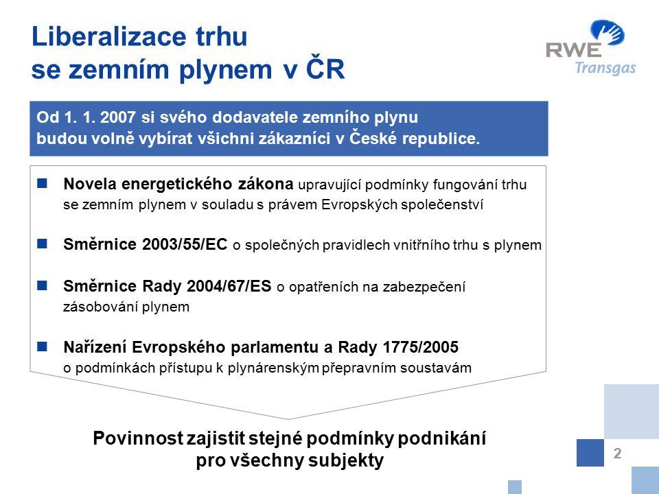 2 Liberalizace trhu se zemním plynem v ČR Od 1. 1.