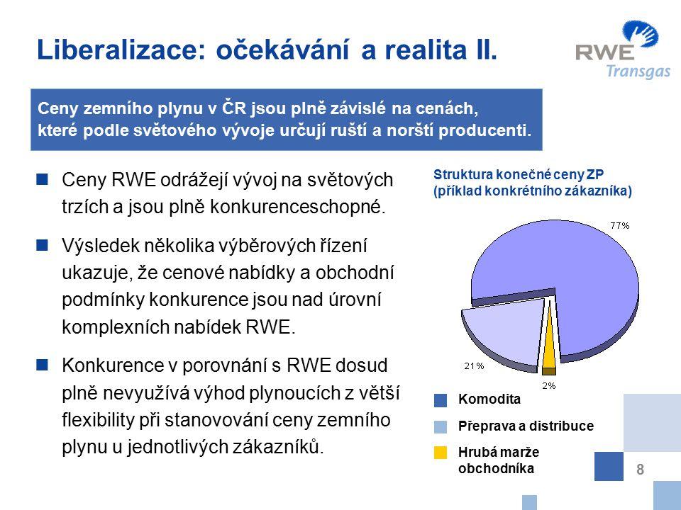 Vývoj cen LTO, TTO a ČU v letech 2002 – 2006, odhad 2007 13 Cena dle vzorce RWE Transgas odpovídá vývoji tržních cen paliv LTO, TTO, černého uhlí a kurzu CZK / USD
