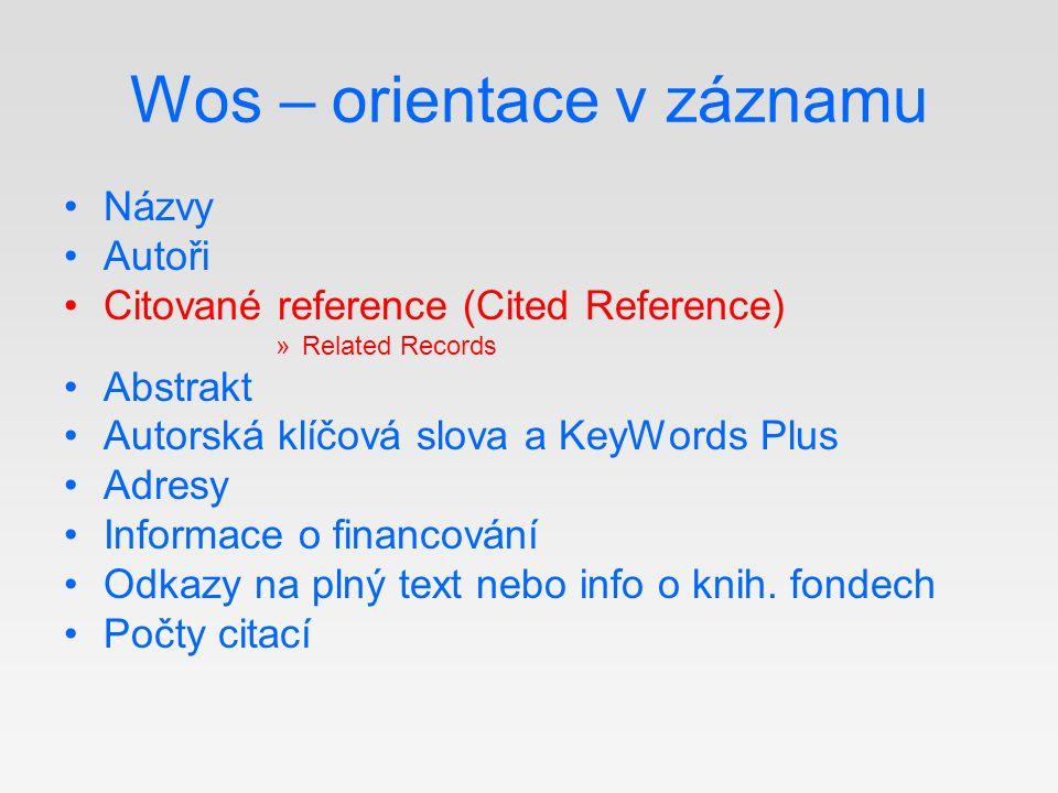 Wos – orientace v záznamu Názvy Autoři Citované reference (Cited Reference) »Related Records Abstrakt Autorská klíčová slova a KeyWords Plus Adresy In