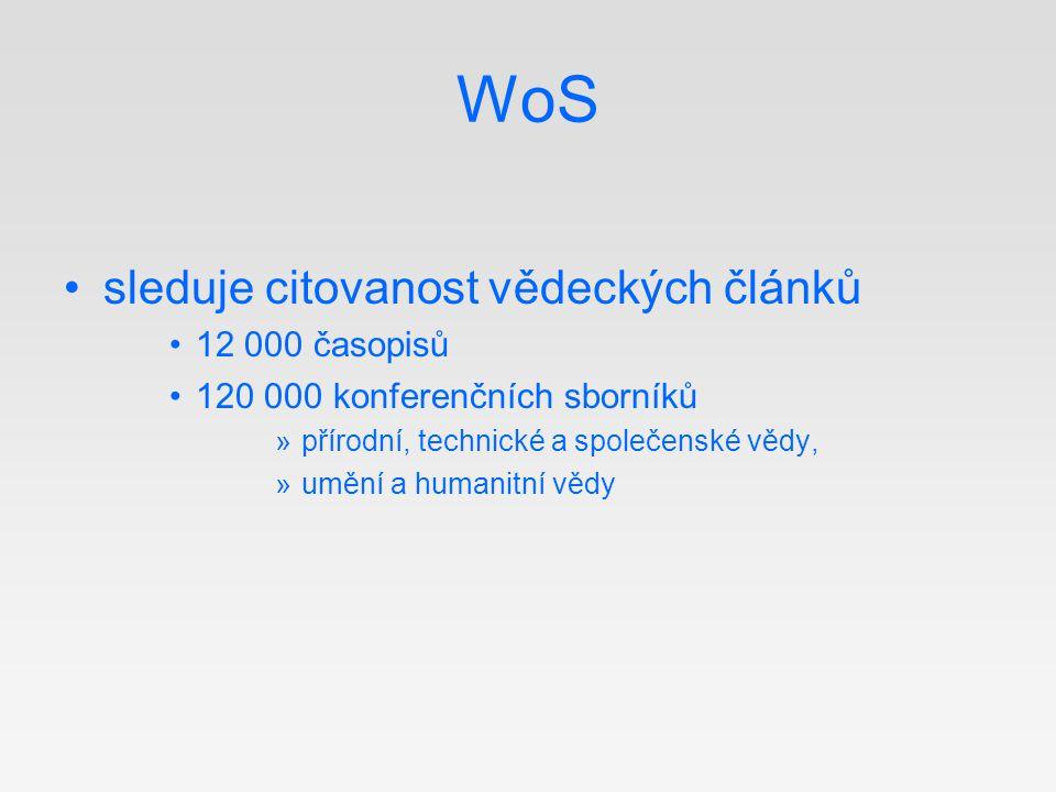 WoS sleduje citovanost vědeckých článků 12 000 časopisů 120 000 konferenčních sborníků »přírodní, technické a společenské vědy, »umění a humanitní věd