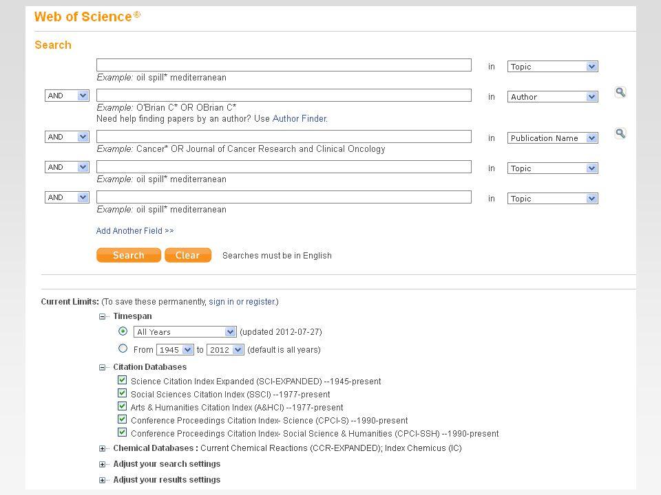 WoS – pravidla vyhledávání vyhledávací operátory »NEAR/nstress NEAR/3 sleep »SAMETulane SAME Chem zástupné znaky * .