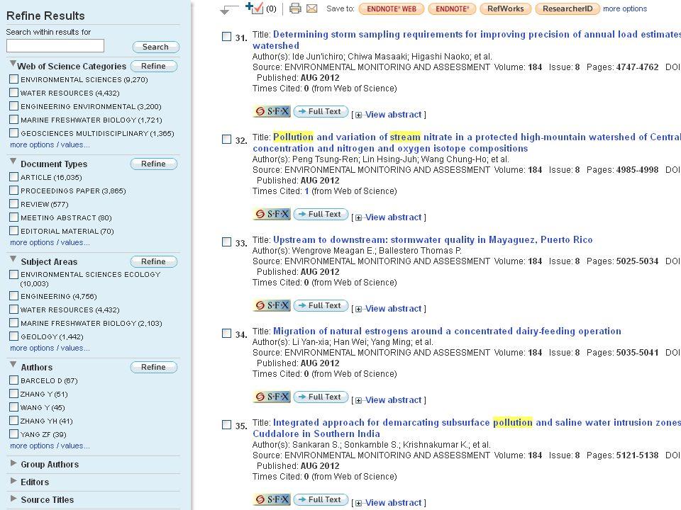 Wos – orientace v záznamu Názvy Autoři Citované reference (Cited Reference) »Related Records Abstrakt Autorská klíčová slova a KeyWords Plus Adresy Informace o financování Odkazy na plný text nebo info o knih.
