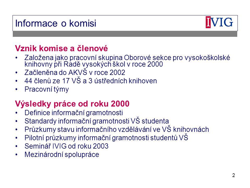2 Informace o komisi Vznik komise a členové Založena jako pracovní skupina Oborové sekce pro vysokoškolské knihovny při Radě vysokých škol v roce 2000 Začleněna do AKVŠ v roce 2002 44 členů ze 17 VŠ a 3 ústředních knihoven Pracovní týmy Výsledky práce od roku 2000 Definice informační gramotnosti Standardy informační gramotnosti VŠ studenta Průzkumy stavu informačního vzdělávání ve VŠ knihovnách Pilotní průzkumy informační gramotnosti studentů VŠ Seminář IVIG od roku 2003 Mezinárodní spolupráce