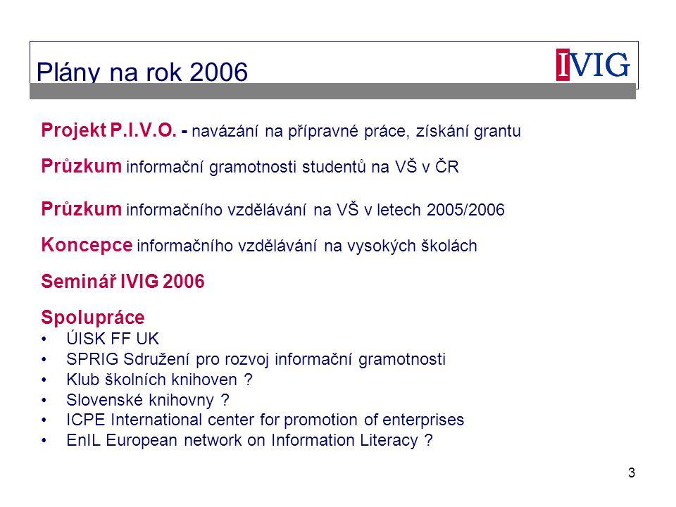 3 Plány na rok 2006 Projekt P.I.V.O.