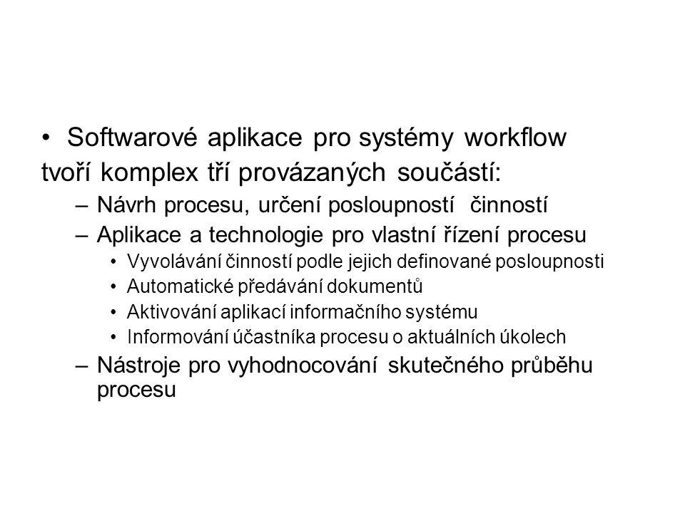 Softwarové aplikace pro systémy workflow tvoří komplex tří provázaných součástí: –Návrh procesu, určení posloupností činností –Aplikace a technologie