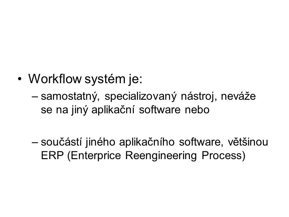 Workflow systém je: –samostatný, specializovaný nástroj, neváže se na jiný aplikační software nebo –součástí jiného aplikačního software, většinou ERP