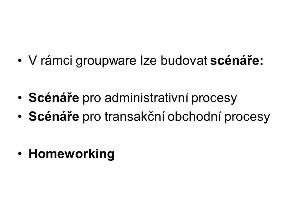 V rámci groupware lze budovat scénáře: Scénáře pro administrativní procesy Scénáře pro transakční obchodní procesy Homeworking