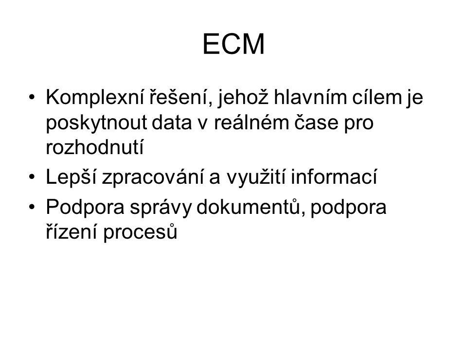 ECM Komplexní řešení, jehož hlavním cílem je poskytnout data v reálném čase pro rozhodnutí Lepší zpracování a využití informací Podpora správy dokumen