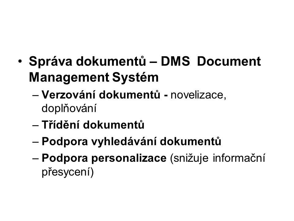 Správa dokumentů – DMS Document Management Systém –Verzování dokumentů - novelizace, doplňování –Třídění dokumentů –Podpora vyhledávání dokumentů –Pod