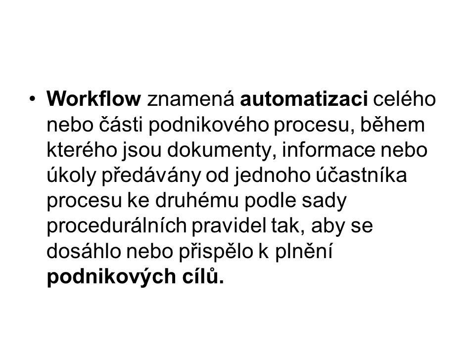 Workflow znamená automatizaci celého nebo části podnikového procesu, během kterého jsou dokumenty, informace nebo úkoly předávány od jednoho účastníka