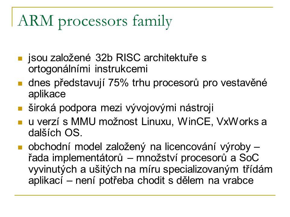 Filosofie ARM jádra jsou založena na Redukované sadě instrukcí (RISC) bez využití mikrokódování Volitelné representaci – Little / Big Endian Load/Store architektuře (operace pouze nad registry, nikoliv přímo nad pamětí) sadě všeobecně použitelných registrů (31 celkem, 16 pro normální využití, 15 pro rychlá přerušení) Jednoduchých adresovacích módech (adresa se musí být určitelná pouze z prováděné instrukce a obsahu registrů) Využití Pipeline – paralelizace zpracování instrukcí, s plánováním pro zamezení pipeline hazardů Možnosti redukované šířky instrukce(16b) – Thumb Privilegovaných módech procesoru Podmiňování instrukcí – instrukce obsahuje podmínku