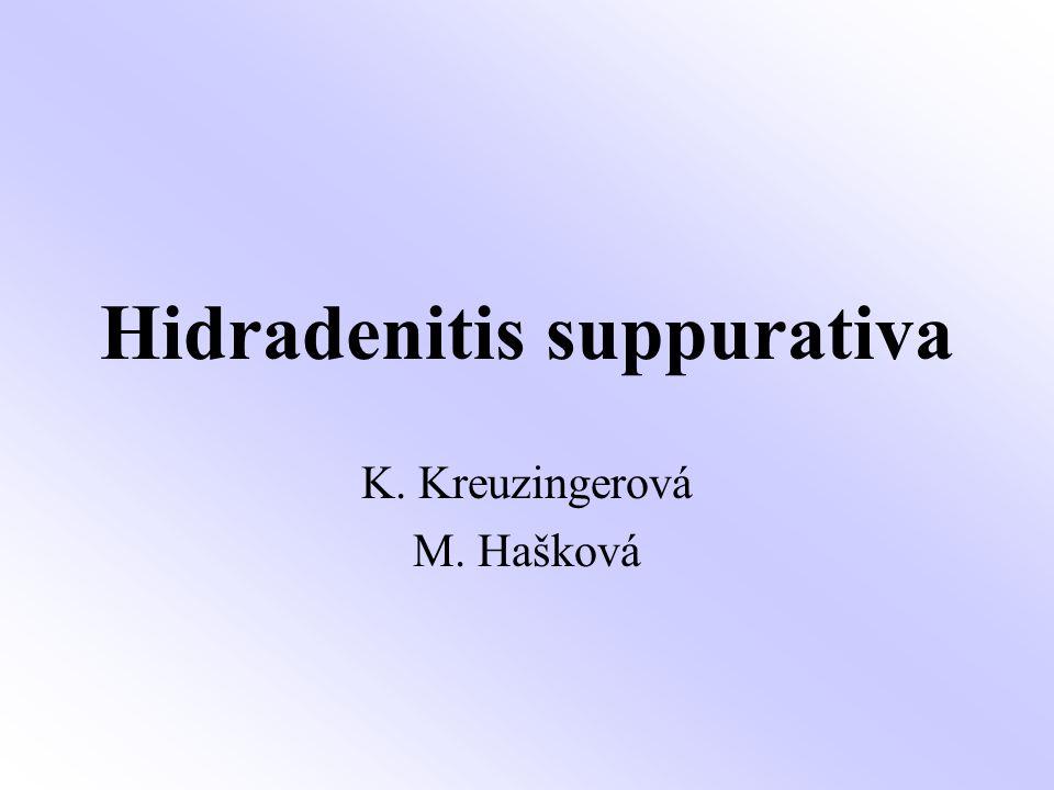 Hidradenitis suppurativa Akneiformní porucha, která začíná folikulární okluzí, infekce apokrinních žláz bývá sekundární Hormonální příčiny, androgeny.