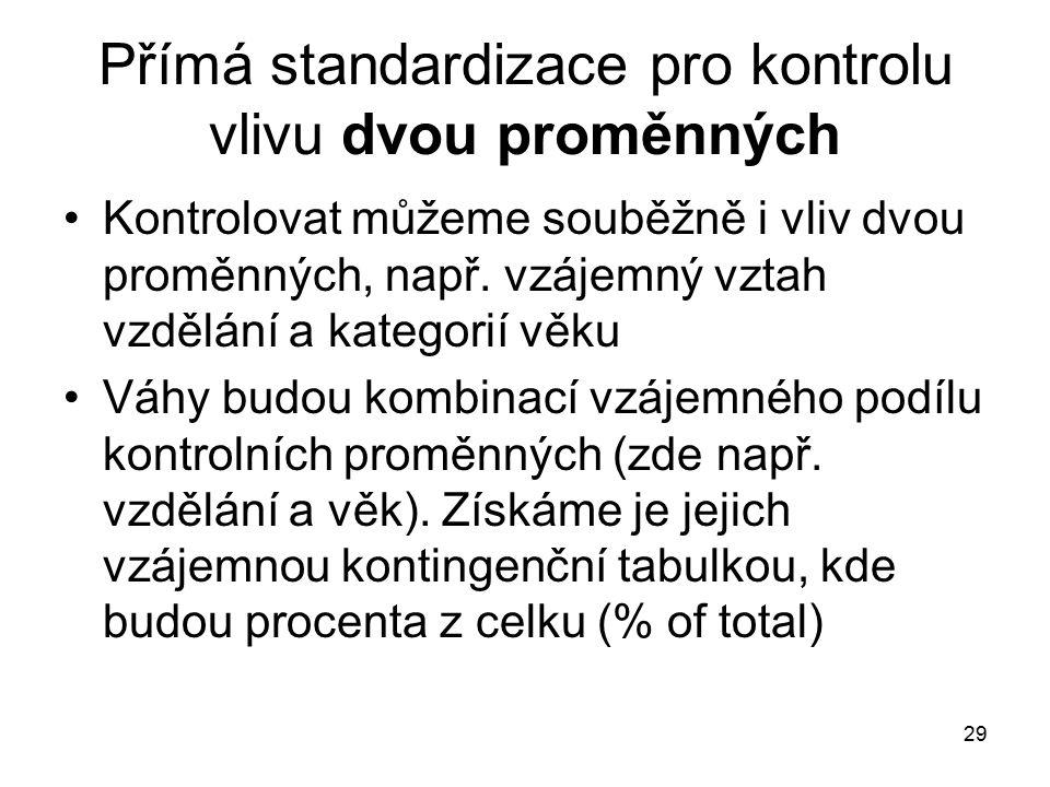 29 Přímá standardizace pro kontrolu vlivu dvou proměnných Kontrolovat můžeme souběžně i vliv dvou proměnných, např.