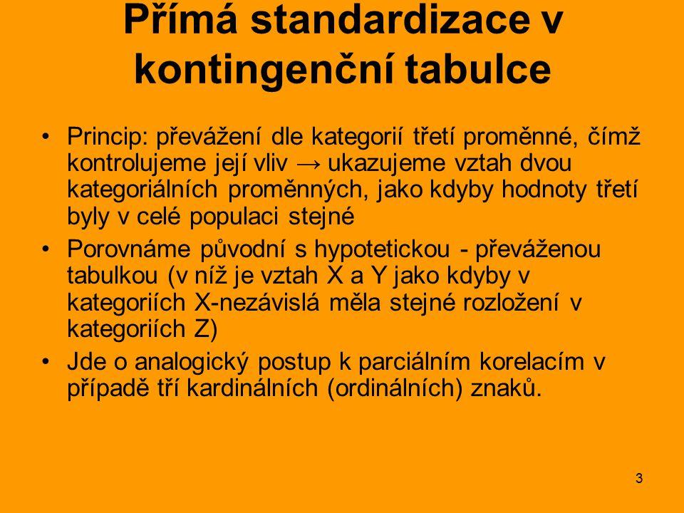 14 Přímá standardizace: Vážený čistý procentní rozdíl Váhy získáme z tabulky → z absolutních četností (viz další příklad) Máme-li původní mikro-data, můžeme je rychle spočítat pomocí třídění 1.