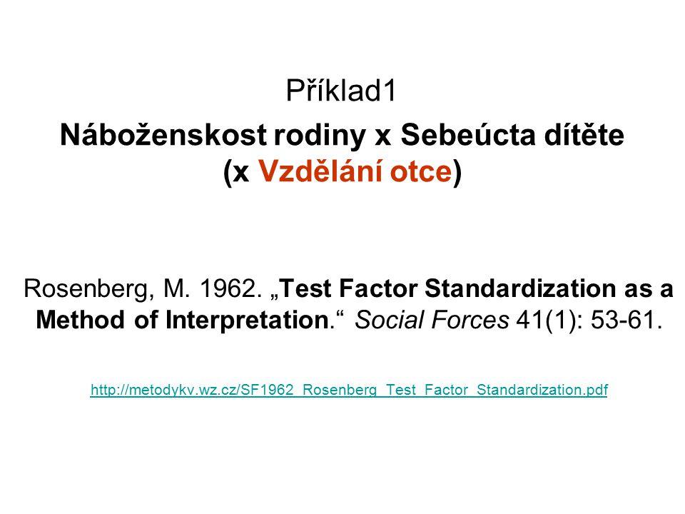 10 Výsledek: Původní (hrubý) a Standardizovaný (čistý) vztah → tabulku původního vztahu X a Y parcializujeme pro kategorie faktoru M (kontrolní proměnné) → Standardizujme (převážíme) políčka dle struktury faktoru M (zde vzdělání otce) → Porovnáme hrubou a čistou míru X a Y Zdroj: [Rosenberg 1962]
