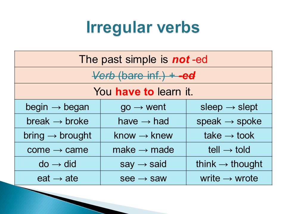 The past simple is not -ed Verb (bare inf.) + -ed You have to learn it. begin → begango → wentsleep → slept break → brokehave → hadspeak → spoke bring