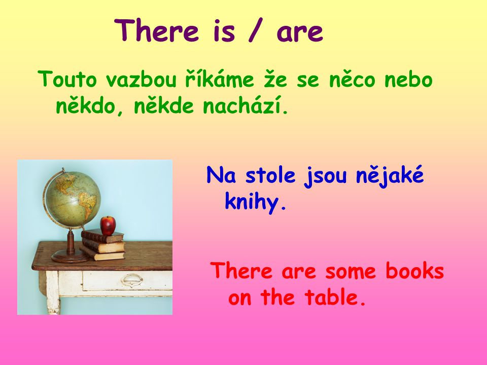 There is / are Touto vazbou říkáme že se něco nebo někdo, někde nachází.