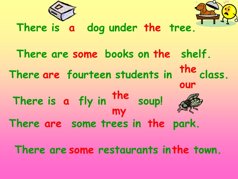 There is dog under tree. There are books on shelf. There fourteen students in class. athe our There is fly in soup! There some trees in park. There ar