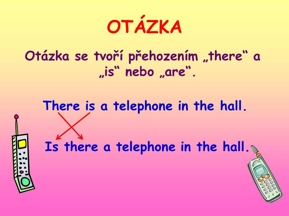 "OTÁZKA Otázka se tvoří přehozením ""there"" a ""is"" nebo ""are"". There is a telephone in the hall. Is there a telephone in the hall."