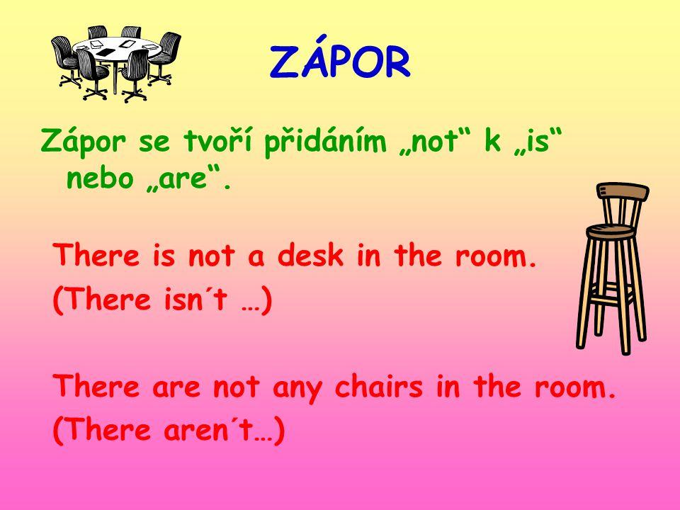 Popiš co je v pokoji. Zeptej se co je v pokoji. Řekni co v pokoji není.