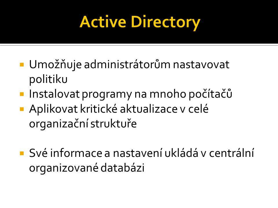  Umožňuje administrátorům nastavovat politiku  Instalovat programy na mnoho počítačů  Aplikovat kritické aktualizace v celé organizační struktuře 