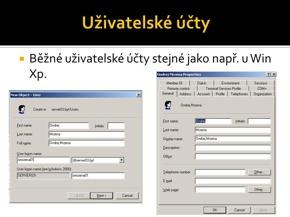  Běžné uživatelské účty stejné jako např. u Win Xp.