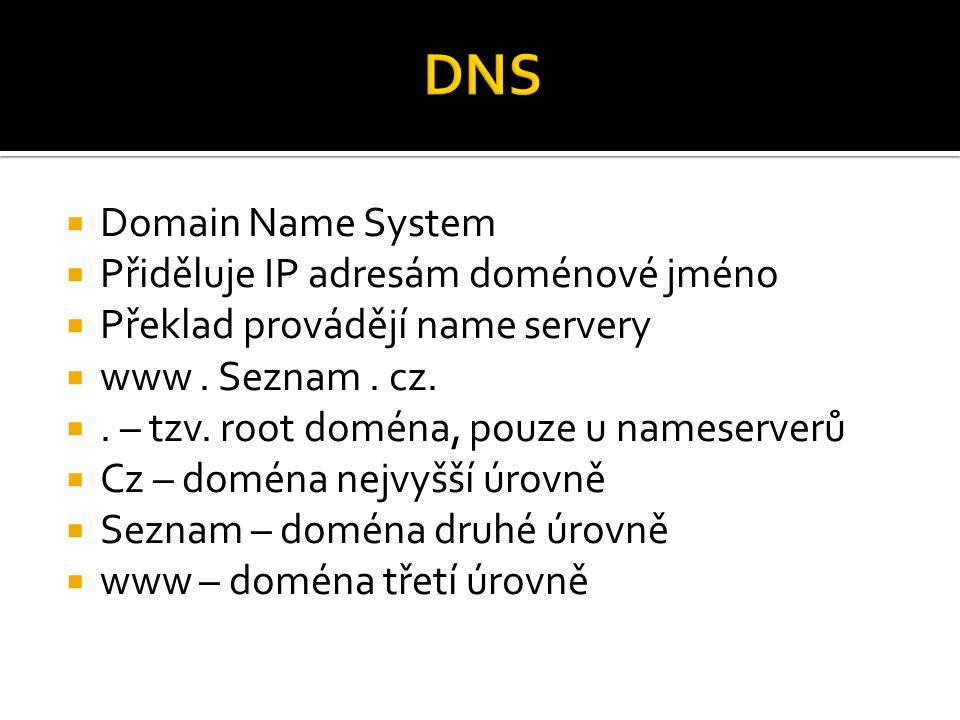  Domain Name System  Přiděluje IP adresám doménové jméno  Překlad provádějí name servery  www. Seznam. cz. . – tzv. root doména, pouze u nameserv