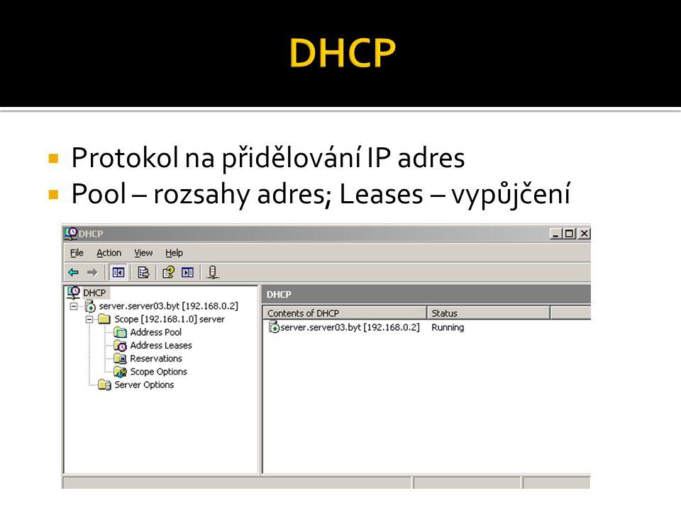  Protokol na přidělování IP adres  Pool – rozsahy adres; Leases – vypůjčení