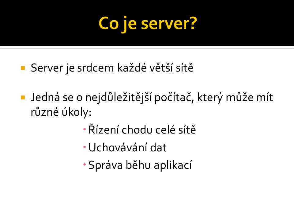  Souborový server  Databázový server  Aplikační server  Terminálový server  Tiskový server  Řadič domény  Server DNS  Server WINS  Server DHCP  Poštovní server  Webový server  Server FTP  Server pro vzdálené připojení a další >>>