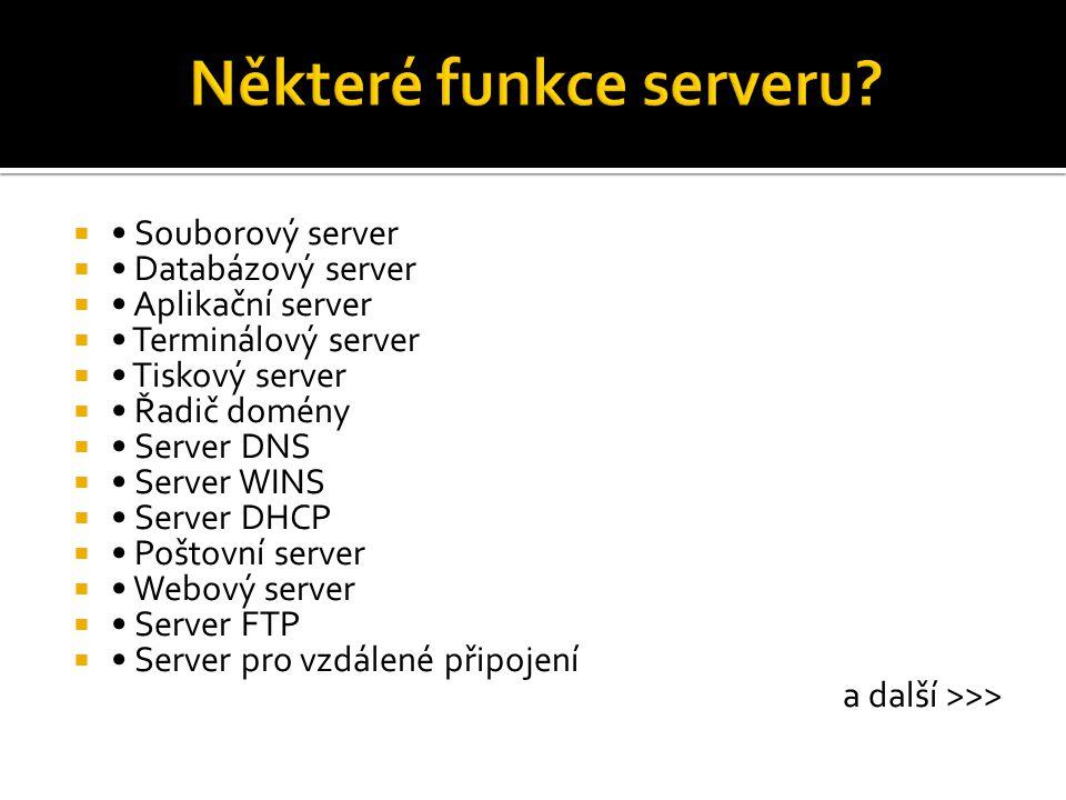  Souborový server  Databázový server  Aplikační server  Terminálový server  Tiskový server  Řadič domény  Server DNS  Server WINS  Server DHC