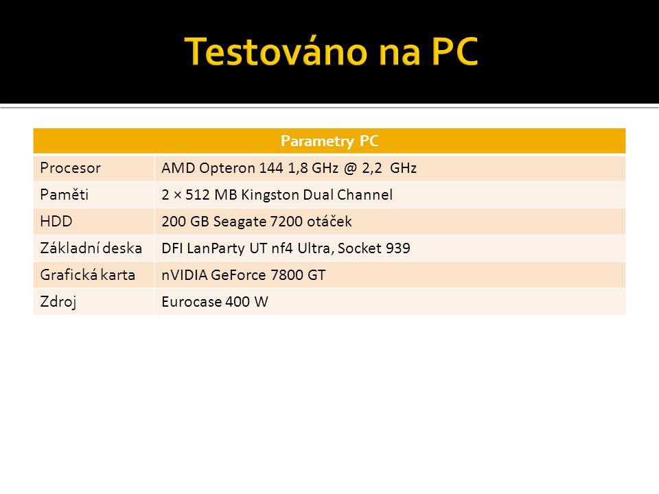 Parametry PC Procesor AMD Opteron 144 1,8 GHz @ 2,2 GHz Paměti 2 × 512 MB Kingston Dual Channel HDD 200 GB Seagate 7200 otáček Základní deska DFI LanP