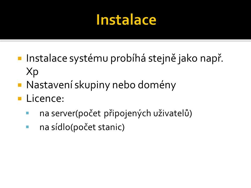  Instalace systému probíhá stejně jako např. Xp  Nastavení skupiny nebo domény  Licence:  na server(počet připojených uživatelů)  na sídlo(počet