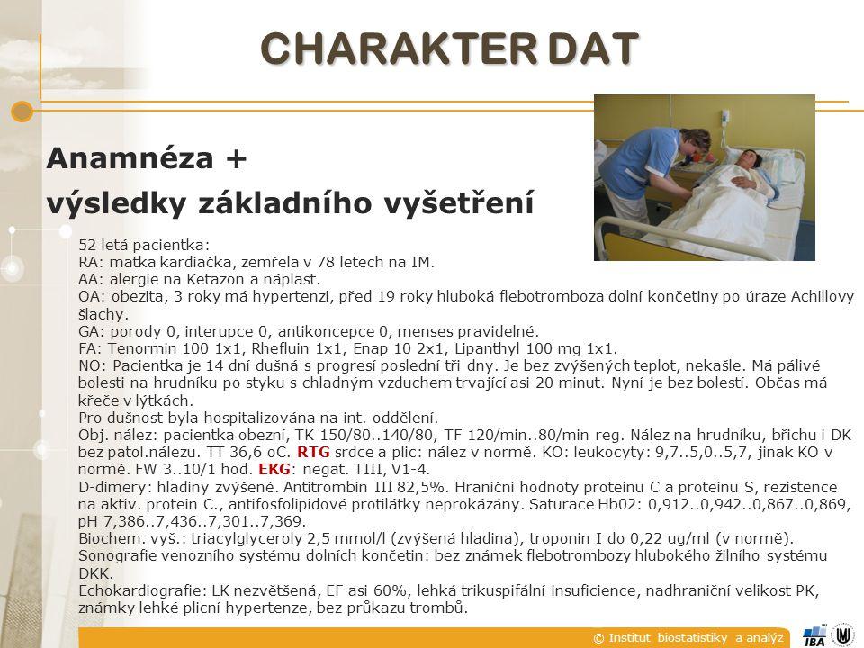 © Institut biostatistiky a analýz Anamnéza + výsledky základního vyšetření 52 letá pacientka: RA: matka kardiačka, zemřela v 78 letech na IM.