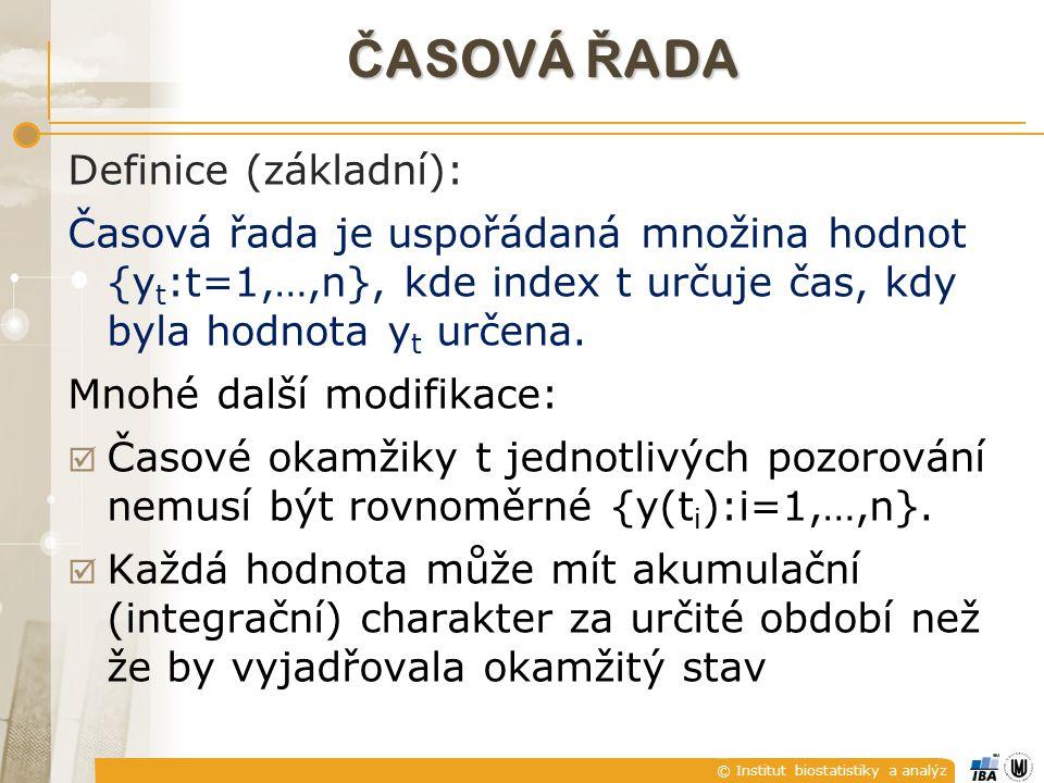 © Institut biostatistiky a analýz Č ASOVÁ Ř ADA Definice (základní): Časová řada je uspořádaná množina hodnot {y t :t=1,…,n}, kde index t určuje čas, kdy byla hodnota y t určena.