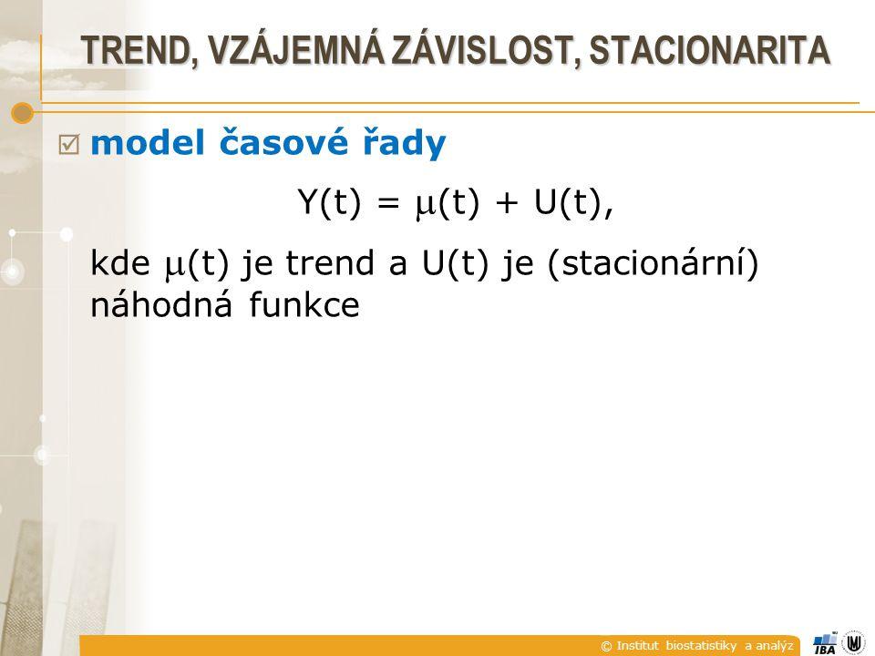 © Institut biostatistiky a analýz TREND, VZÁJEMNÁ ZÁVISLOST, STACIONARITA  model časové řady Y(t) =  (t) + U(t), kde  (t) je trend a U(t) je (stacionární) náhodná funkce