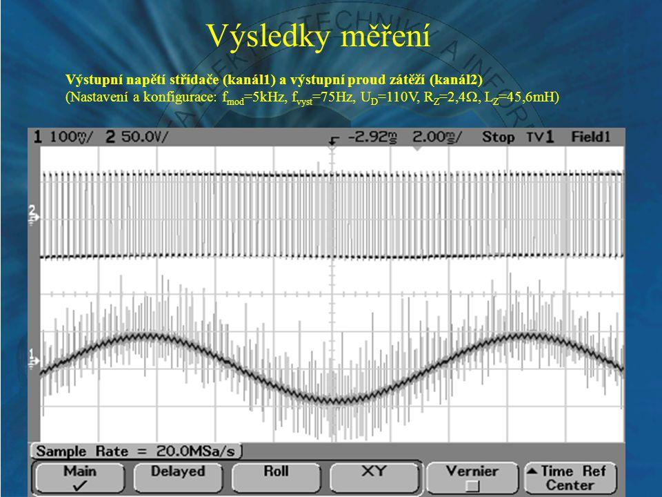 Výsledky měření Výstupní napětí střídače (kanál1) a výstupní proud zátěží (kanál2) (Nastavení a konfigurace: f mod =5kHz, f vyst =75Hz, U D =110V, R Z