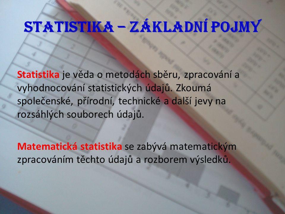 Statistika – základní pojmy, diagramy Náplň výuky Definice základních pojmů ze statistiky včetně jednoduchých příkladů, typy diagramů.
