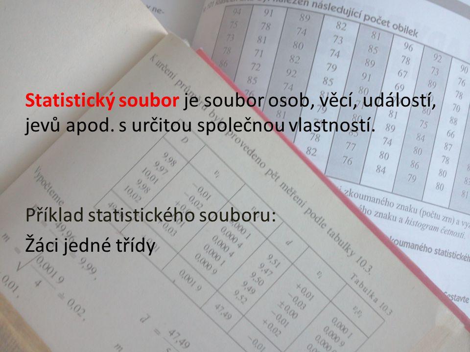 Statistika – základní pojmy Statistika je věda o metodách sběru, zpracování a vyhodnocování statistických údajů. Zkoumá společenské, přírodní, technic