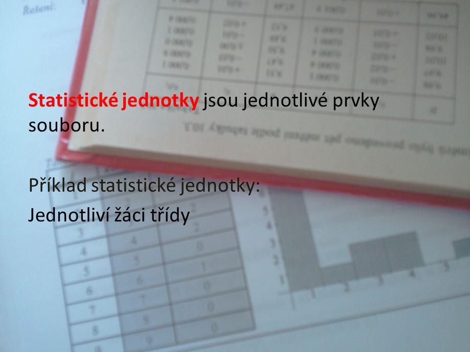 Statistický soubor je soubor osob, věcí, událostí, jevů apod. s určitou společnou vlastností. Příklad statistického souboru: Žáci jedné třídy