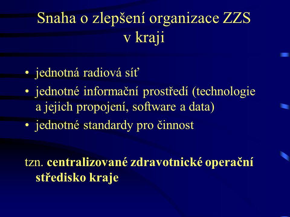 Snaha o zlepšení organizace ZZS v kraji jednotná radiová síť jednotné informační prostředí (technologie a jejich propojení, software a data) jednotné