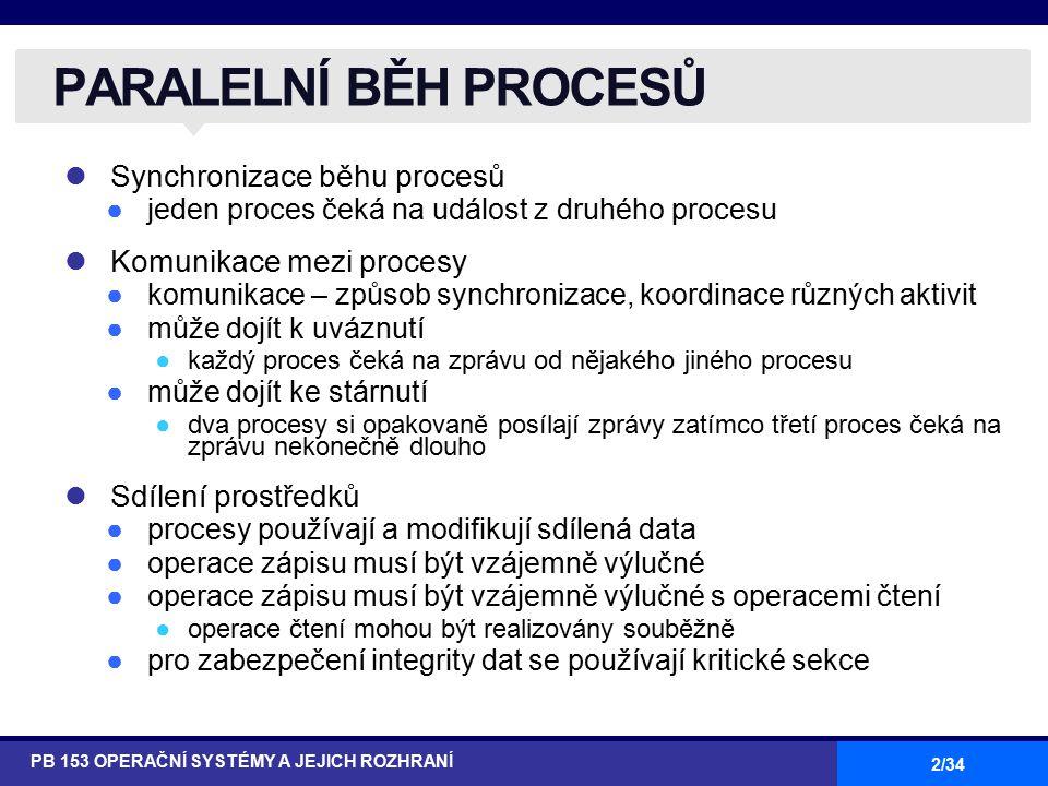 2/34 Synchronizace běhu procesů ●jeden proces čeká na událost z druhého procesu Komunikace mezi procesy ●komunikace – způsob synchronizace, koordinace