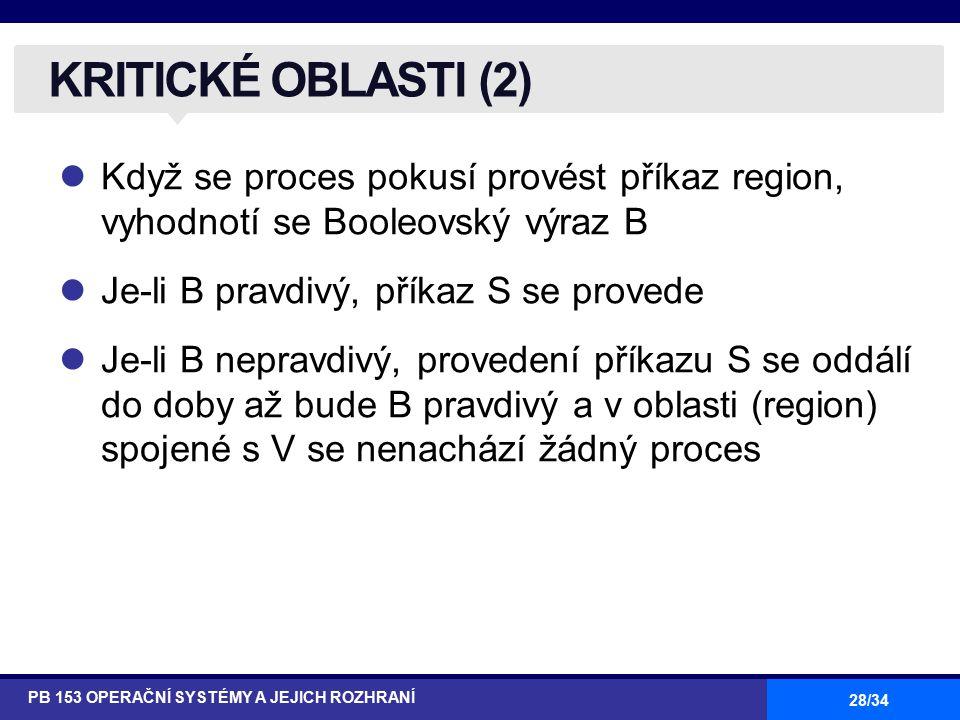 28/34 Když se proces pokusí provést příkaz region, vyhodnotí se Booleovský výraz B Je-li B pravdivý, příkaz S se provede Je-li B nepravdivý, provedení