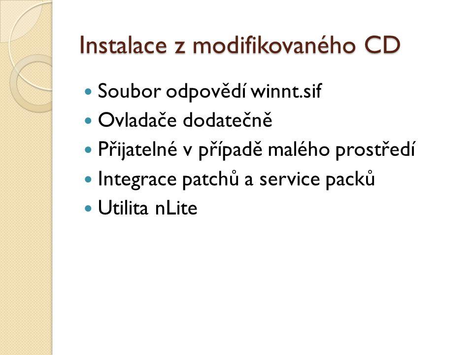 Instalace z modifikovaného CD Soubor odpovědí winnt.sif Ovladače dodatečně Přijatelné v případě malého prostředí Integrace patchů a service packů Utilita nLite