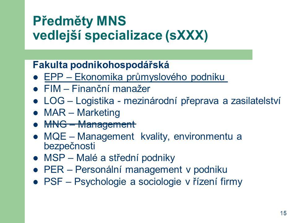 15 Předměty MNS vedlejší specializace (sXXX) Fakulta podnikohospodářská EPP – Ekonomika průmyslového podniku FIM – Finanční manažer LOG – Logistika -
