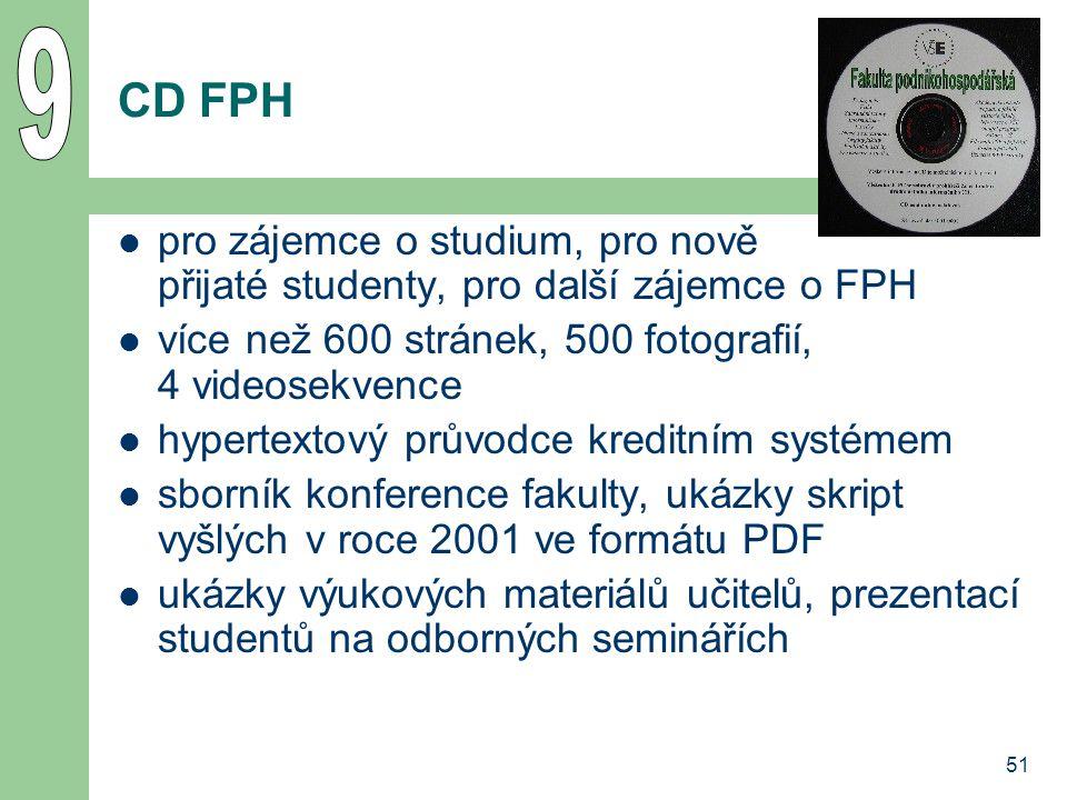 51 CD FPH pro zájemce o studium, pro nově přijaté studenty, pro další zájemce o FPH více než 600 stránek, 500 fotografií, 4 videosekvence hypertextový