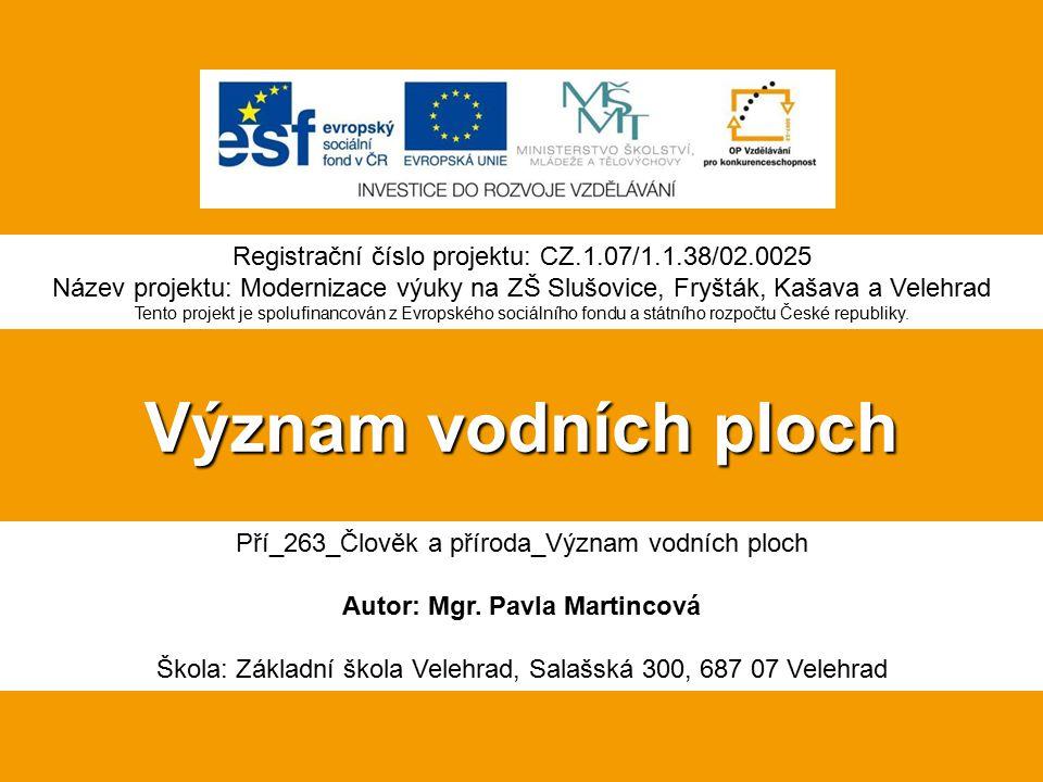 Význam vodních ploch Pří_263_Člověk a příroda_Význam vodních ploch Autor: Mgr.