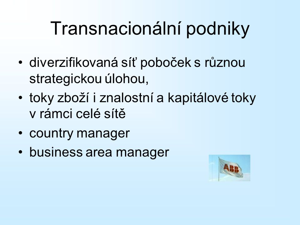 diverzifikovaná síť poboček s různou strategickou úlohou, toky zboží i znalostní a kapitálové toky v rámci celé sítě country manager business area manager