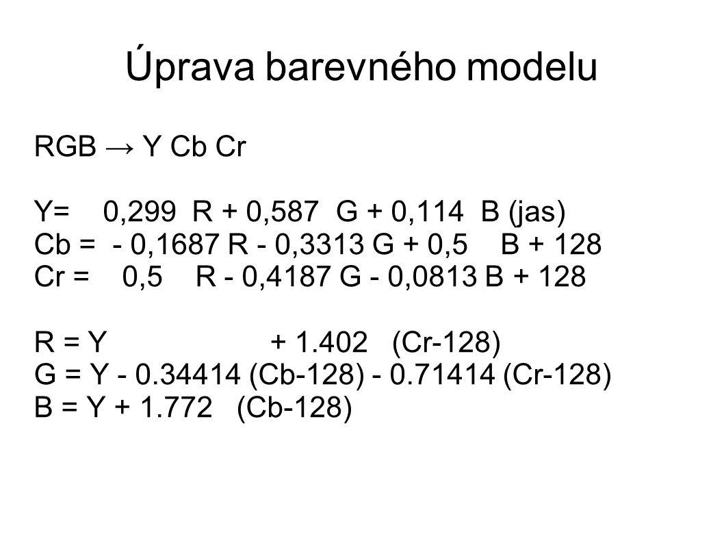 Úprava barevného modelu RGB → Y Cb Cr Y= 0,299 R + 0,587 G + 0,114 B (jas) Cb = - 0,1687 R - 0,3313 G + 0,5 B + 128 Cr = 0,5 R - 0,4187 G - 0,0813 B + 128 R = Y + 1.402 (Cr-128) G = Y - 0.34414 (Cb-128) - 0.71414 (Cr-128) B = Y + 1.772 (Cb-128)